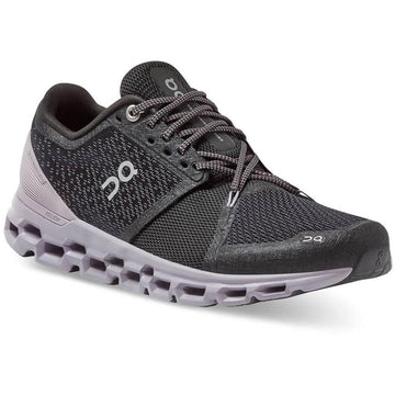 Quarter view Women's On Running Footwear style name Cloud Stratus in color Black/ Lilac. Sku: 29-99562