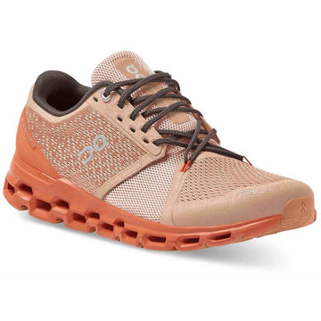 Quarter view Women's On Running Footwear style name Cloud Stratus in color Rosebrown/ Flare. Sku: 29-99563