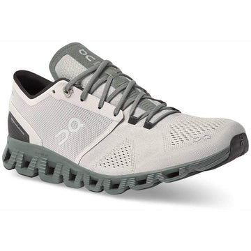 Quarter view Men's On Running Footwear style name Cloud X in color Glacier/ Olive. Sku: 40-99595