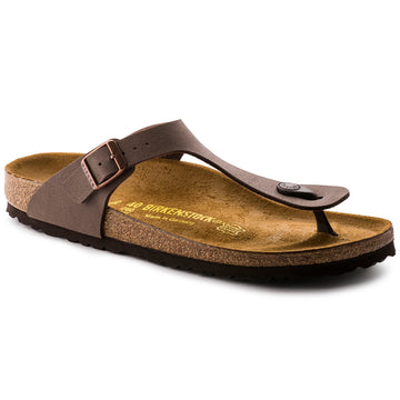 Quarter view Women's Birkenstock Footwear style name Gizeh Birkibuc Regular in color Mocha Bb. Sku: 43751