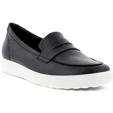 Quarter view Women's ECCO Footwear style name Soft 7 Loafer in color Black. Sku: 470223-01001