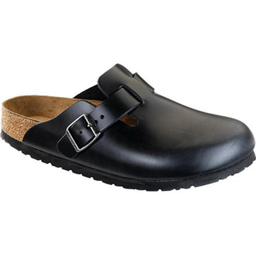 Women's Birkenstock Boston Soft Footbed Regular in Black Amalfi sku: 59831