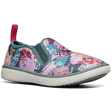 Quarter view Girl's Bogs Footwear style name Kicker Slip On Deco Floral in color Green Mult. Sku: 72657K-340
