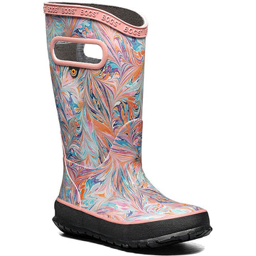 Quarter view Girl's Bogs Footwear style name Rainboot Marble in color Coral. Sku: 72664-812