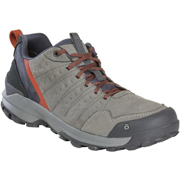 Quarter view Men's Oboz Footwear style name Sypes Low Leather B-Dry in color Steel. Sku: 76101-STL
