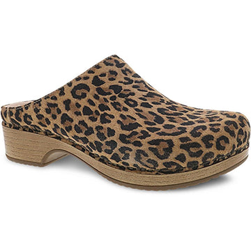 Quarter view Women's Dansko Footwear style name Brenda in color Leopard Suede. Sku: 9420-561600