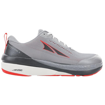 Quarter view Men's Altra Footwear style name Paradigm 5 in color Gray/ Orange. Sku: AL0A4VQO-280