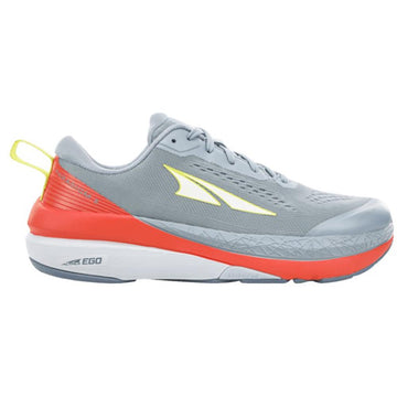 Quarter view Women's Altra Footwear style name Paradigm 5 in color Gray/ Coral. Sku: AL0A4VQY-007