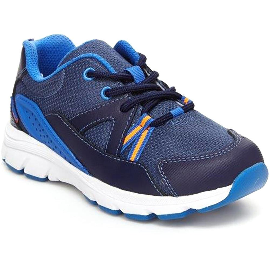 Quarter view Boy's Stride Rite Footwear style name M2P Journey Boy'S 10.5-1 Double Wide in color Navy. Sku: CB011601
