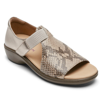 Quarter view Women's Aravon Footwear style name Duxbury T Strap in color Taupe Snake Multi Leather. Sku: CI4088