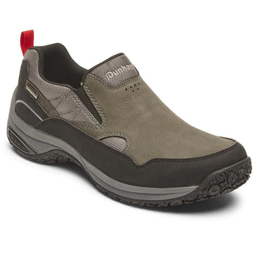 Quarter view Men's Dunham Footwear style name Ludlow Cloud Plus Slip On in color Grey. Sku: CI4302