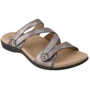 Quarter view Women's Taos Footwear style name Double U in color Pewter. Sku: DBU-13930PWT