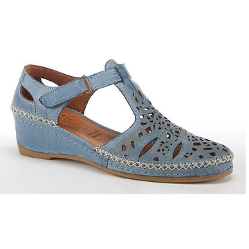 Quarter view Women's Spring Step Footwear style name Irin in color Blue. Sku: IRIN-BLU