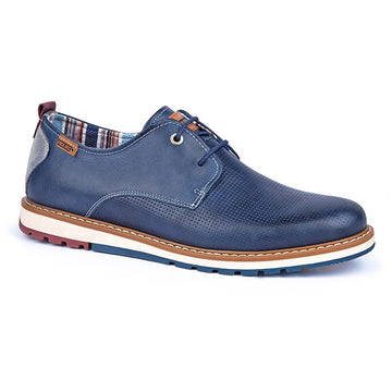 Quarter view Men's Pikolinos Footwear style name Berna 4273 in color Blue. Sku: M8J-4273BLUE