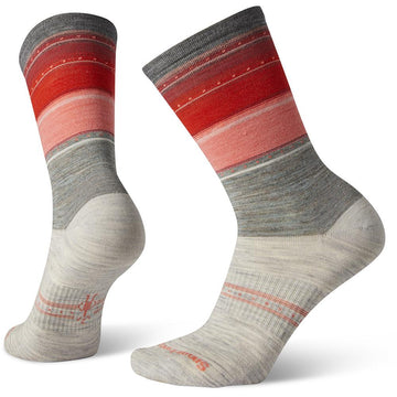 Quarter view Women's Smartwool Sock style name Everyday Sulawesi Stripe Crew in color Ash. Sku: SW003900069