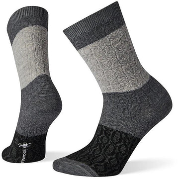 Women's Smartwool Color Block Cable Crew in Medium Gray sku: SW004004052
