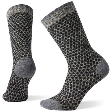 Women's Smartwool Popcorn Polka Dot Crew in Black Multi Donegal sku: SW004006C26