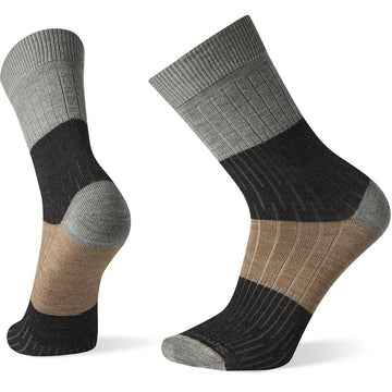 Quarter view Men's Smartwool Sock style name Everyday Rib Color Block Crew in color Lunar Gray. Sku: SW005001E47
