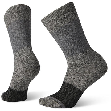 Quarter view Women's Smartwool Sock style name Everyday Color Block Cable Crew in color Charcoal. Sku: SW005004003