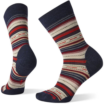 Quarter view Women's Smartwool Sock style name Margarita in color Deep Navy-Masala. Sku: SW0SW717G24