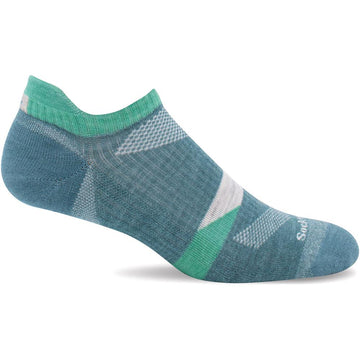 Quarter view Women's Sockwell Sock style name Traverse Micro in color Mineral. Sku: SW107W-425