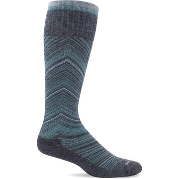 Quarter view Women's Sockwell Sock style name Full Flattery in color Charcoal. Sku: SW57W-850