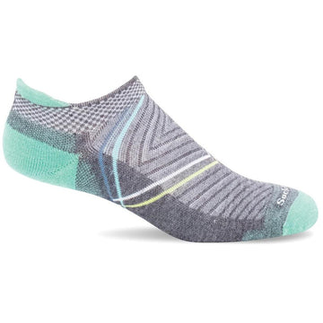 Quarter view Women's Sockwell Sock style name Pulse Micro in color Charcoal. Sku: SW88W-850