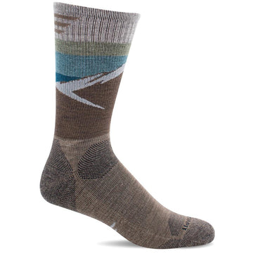 Quarter view Men's Sockwell Sock style name Modern Mountain Crew in color Khaki. Sku: SW98M-030