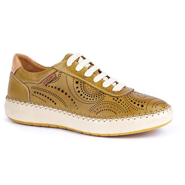 Quarter view Women's Pikolinos Footwear style name Mesina 6996 in color Citron. Sku: W6B-6996CITRON