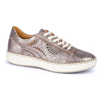 Quarter view Women's Pikolinos Footwear style name Mesina 6996Cl in color Stone. Sku: W6B-6996CLSTONE