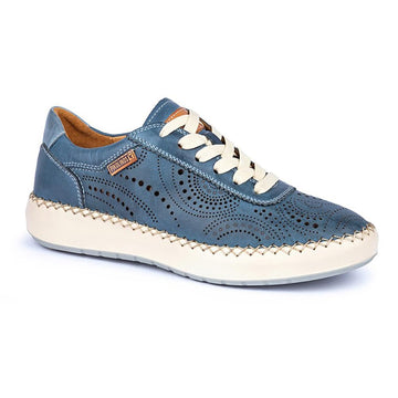 Quarter view Women's Pikolinos Footwear style name Mesina 6996 in color Sapphire. Sku: W6B-6996SAPP