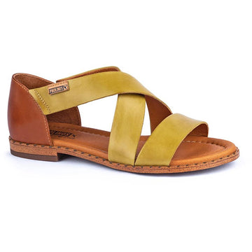 Quarter view Women's Pikolinos Footwear style name Algar WOX-0552C1 in color Citron. Sku: WOX-0552C1CTR
