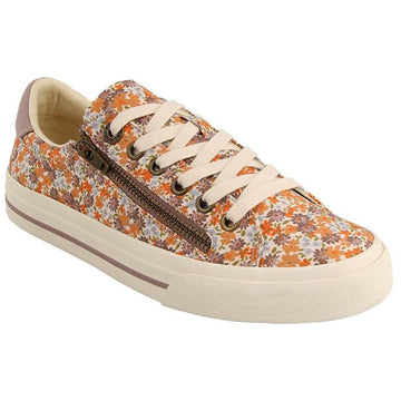 Quarter view Women's Taos Footwear style name Z Soul in color Peach Floral Multi. Sku: ZSL-13672PEFL