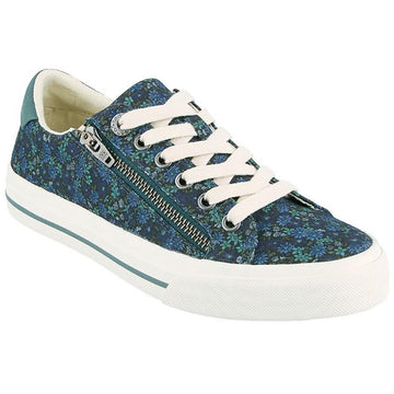 Quarter view Women's Taos Footwear style name Z Soul in color Teal Floral Multi. Sku: ZSL-13672TLFM