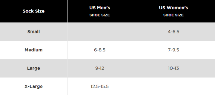 Feetures size chart