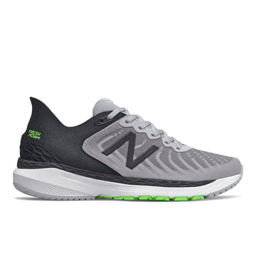 Side view Men's New Balance Footwear style name Fresh Roam 860V11 in color Light Aluminum/ Black/ Energy Line. Sku: M860A11