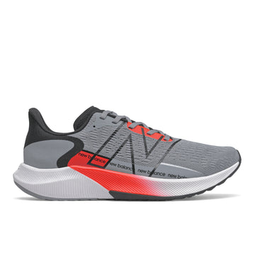 Side view Men's New Balance Footwear style name Fuel Cell Propelv2 in color Steel/ Black/ Neo Flame. Sku: MFCPRWR2