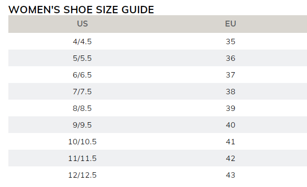 Women's US to EURO size chart