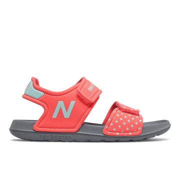 Side view Girl's New Balance Footwear style name Sport Sandal Girls 1-7 in color Pink/ Bali Blue. Sku: YOSPSDTP