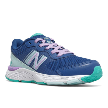 Quarter view Girl's New Balance Footwear style name 680V6 Girls 105-7 Double Wide in color Caption Blue/ Dark Violet Glo/ White Mint. Sku: YP680CW6
