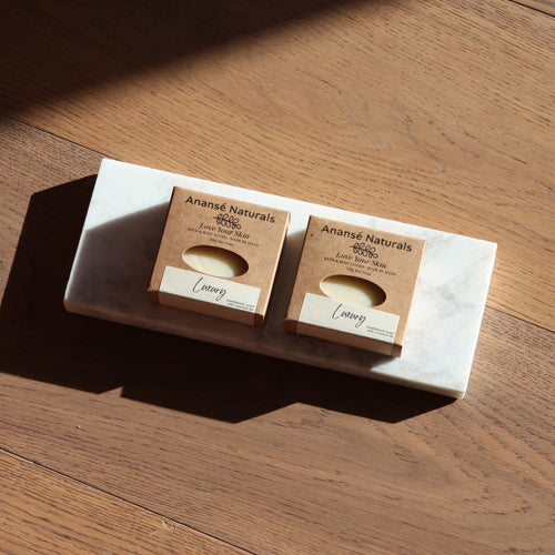 Eco-friendly and biodegradeable handmade soap packaging from Anansé Naturals.