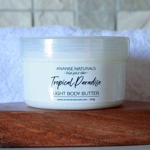 Tropical Paradise body butter. A light body butter that will nourish your skin and transport you to the beach. Natural skincare by Anansé Naturals.