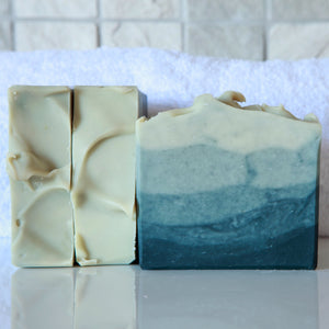 Winter Sea - handmade soap with a citrus blend of lemon, tea, and may change essential oils. Handmade skincare products by Anansé Naturals.