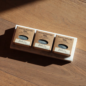Eco-friendly, biodegradeable packaging for handmade soap: Winter Sea by Anansé Naturals.