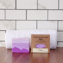 Load image into Gallery viewer, Relax with our handmade lavender body bar. Lavender is one of the most powerful remedies in the plant world, offering both physical and emotional relief for problems as varied as burns, migraines, insomnia, insect bites, skin problems, infections, stress, and nervous tension. It's packed with an amazing spectrum of healing powers and is suitable for both sensitive and normal skin.