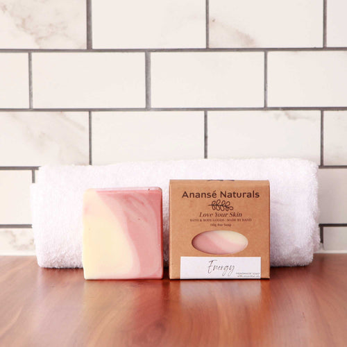 Start the day right with our Energy bath and body soap bar. Scented with a blend of orange, lime, spearmint, and lavender essential oils, this soap will invigorate your spirit and refresh your mind.