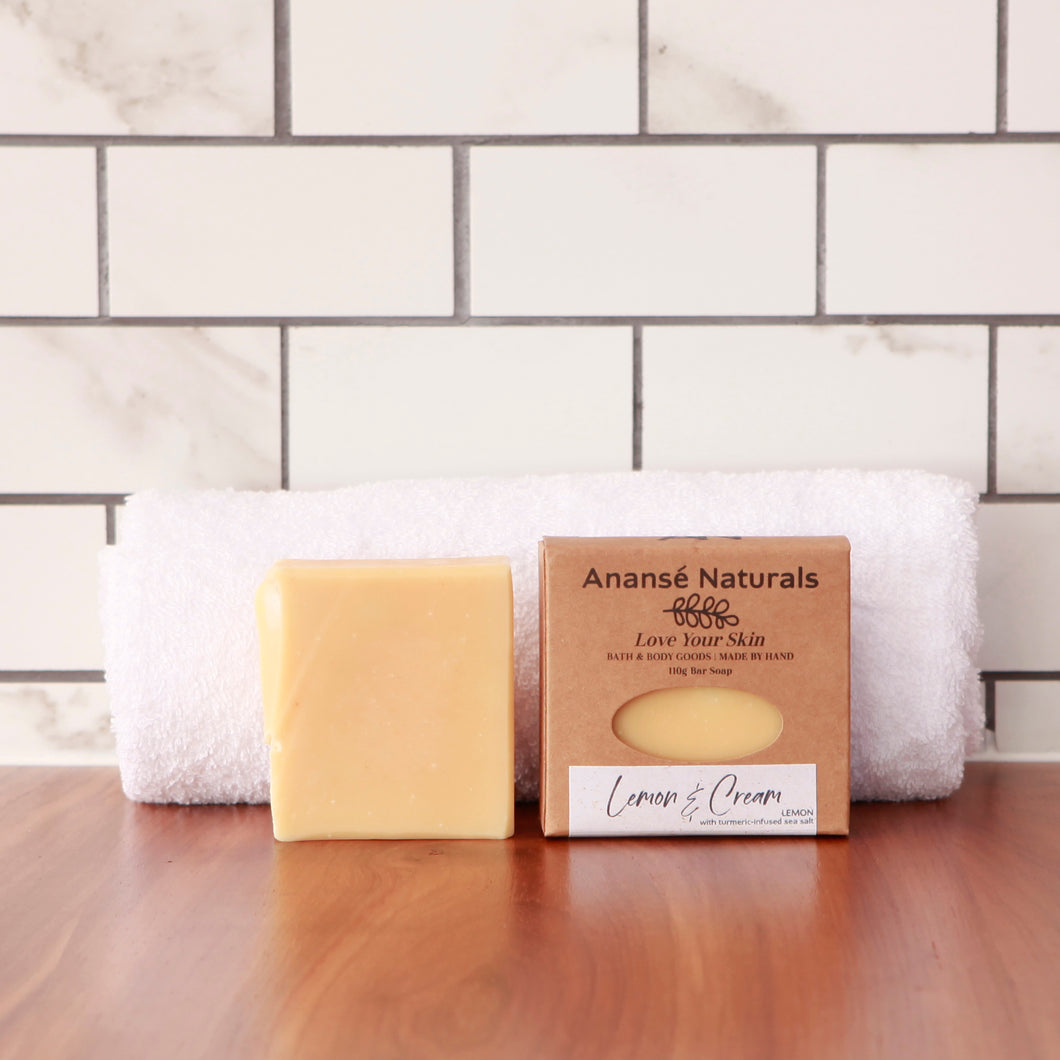 The turmeric-infused crystal sea salt in this soap bar has been hand-harvested from an ancient underground aquifer and sun-dried on the Atlantic Cape Coast.