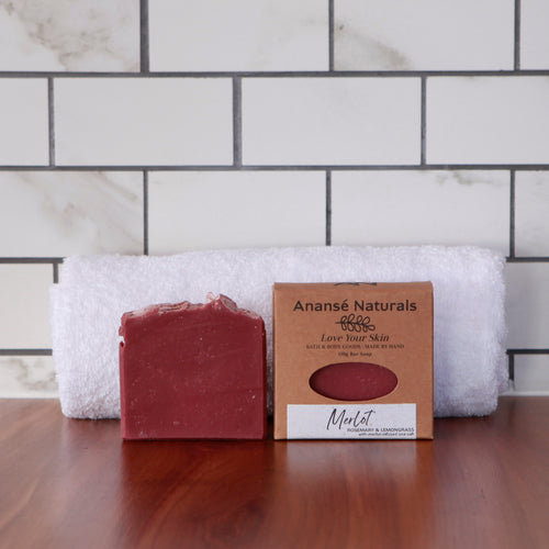A best-seller, our Masterstock Merlot Salt bar lathers like a dream and leaves behind the sweet bouquet of lemongrass with a touch of peppermint. Some of our customers love it so much, they leave it in their cupboards. We think you should use the soap in the bath or shower so your skin receives the full benefit of its conditioning blend of plant oils and butters.