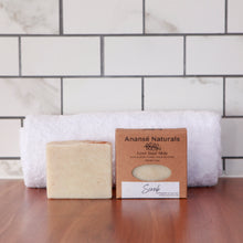 Load image into Gallery viewer, Combat persistent dirt and smells with our Scrub Exfoliating soap bar. It's packed with natural exfoliants like ground apricot seeds, pumice, colloidal oats, and clays to scrub hard-working hands. Ideal for gardeners, it's also proven useful in a workshop environment to get rid of oil, soot, and grease.  Its healing oils will leave your skin feeling clean, soft, and hydrated.