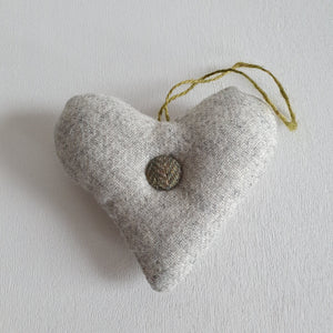 Lavender Tweed Heart Button